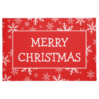 Merry Christmas Snowflakes Doormat