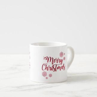 Merry Christmas Snowflakes Festive Espresso Mug