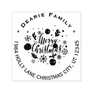 Merry Christmas Snowflakes Holiday Return Address Self-inking Stamp