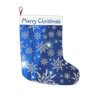 Merry Christmas Snowflakes Large Christmas Stocking