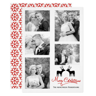 Merry Christmas snowflakes newlyweds photo collage Card