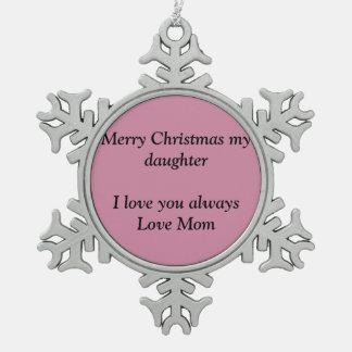 Merry Christmas snowflakes Pewter Snowflake Ornament