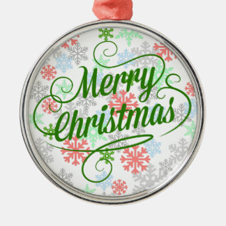 Merry Christmas Snowflakes Silver-Colored Round Ornament