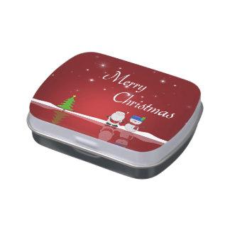 Merry Christmas Snowman and Santa - Candy Tin