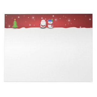 Merry Christmas Snowman and Santa - Notepad