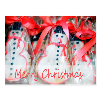 Merry Christmas Snowman Biscuit Postcard