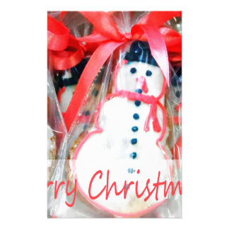 Merry Christmas Snowman Biscuit Stationery Design
