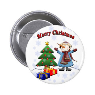 Merry Christmas Snowman Button