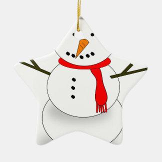 Merry Christmas Snowman Ceramic Ornament