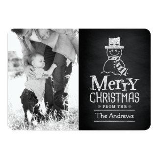 Merry Christmas Snowman Chalkboard Typography Card