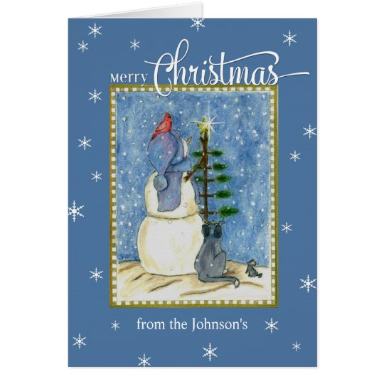 Merry Christmas Snowman custom name Card