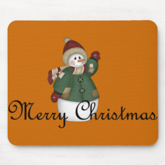Merry Christmas Snowman Dressed Mousepad