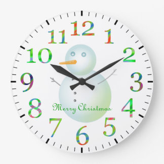 Merry Christmas Snowman Large Clock
