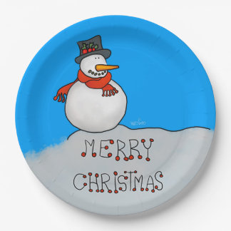 Merry Christmas Snowman Paper Plate
