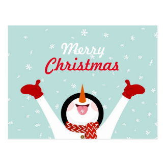 Merry Christmas Snowman Postcard