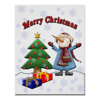 Merry Christmas Snowman Poster