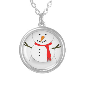 Merry Christmas Snowman Silver Plated Necklace