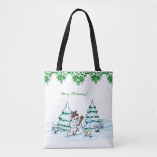 Merry Christmas! Snowman with Cat and Puppy Tote Bag