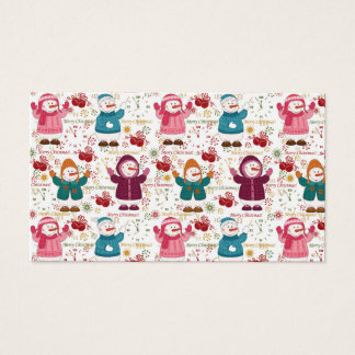 Merry Christmas Snowmen Business Card