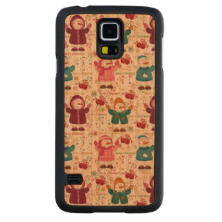 Merry Christmas Snowmen Carved Cherry Galaxy S5 Case