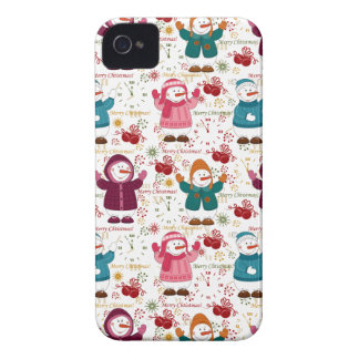 Merry Christmas Snowmen iPhone 4 Case-Mate Cases