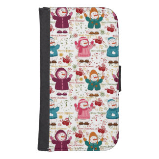 Merry Christmas Snowmen Samsung S4 Wallet Case