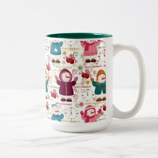 Merry Christmas Snowmen Two-Tone Coffee Mug