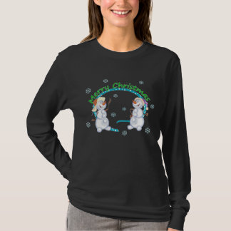 Merry Christmas Snowmen Womens Dark Shirt