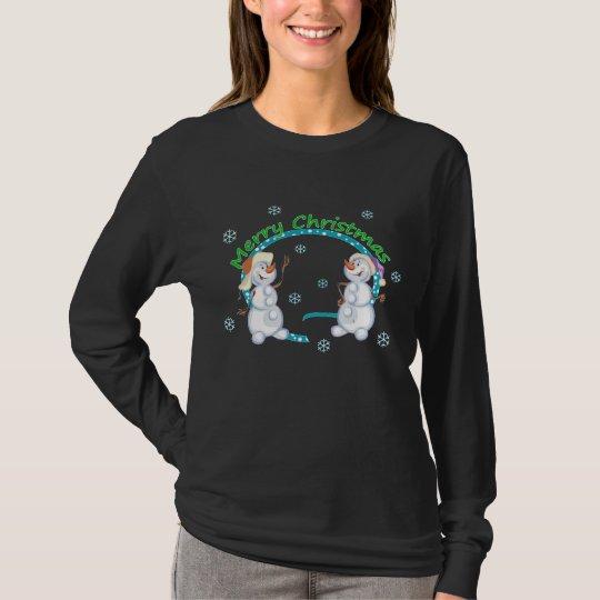 Merry Christmas Snowmen Womens Dark Shirt