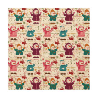 Merry Christmas Snowmen Wood Wall Art