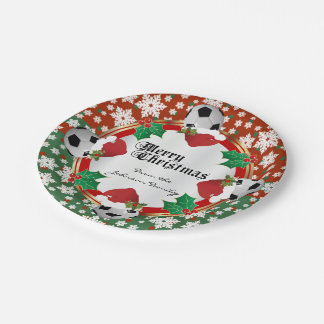 Merry Christmas Soccer Lovers Paper Plate
