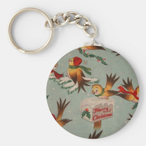 Merry Christmas Sparrows Keychain