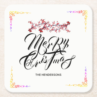 Merry Christmas - Square Paper Coaster
