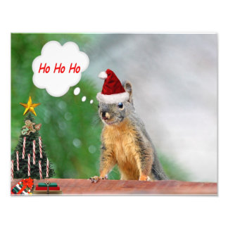Merry Christmas Squirrel Saying Ho Ho Ho! Photographic Print
