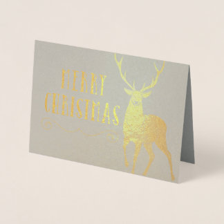 Merry Christmas Stag Foil Card