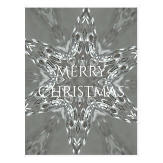 Merry Christmas Star Antique Silver Gray Postcard