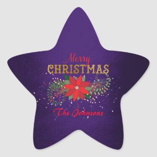 Merry Christmas Star Cobalt Blue English Star Sticker