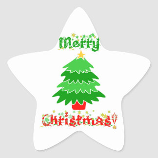 Merry Christmas Star Sticker