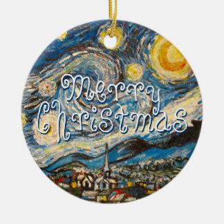 Merry Christmas Starry Night Vincent Van Gogh Round Ceramic Ornament