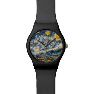 Merry Christmas Starry Night Wristwatch