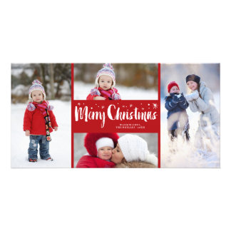 Merry Christmas Stars Holiday Photo Collage Card Personalized Photo Card