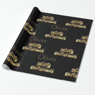 Merry Christmas Stars Typography Black Gold Chic Wrapping Paper