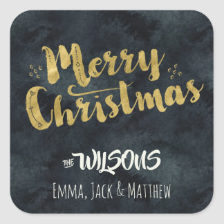 Merry Christmas Sticker - Black Watercolor & Gold