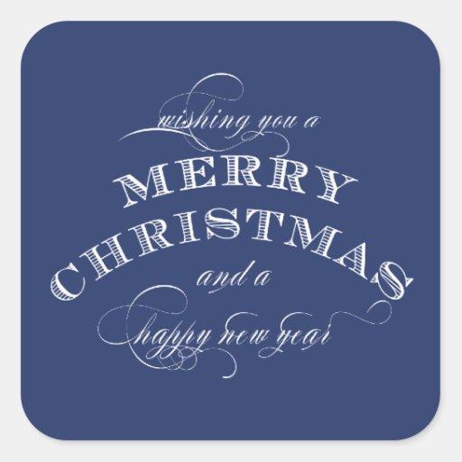 MERRY CHRISTMAS STICKER BLUE