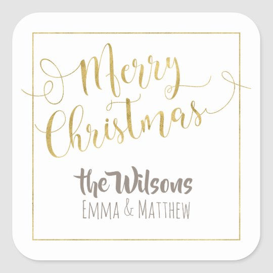 Merry Christmas Sticker - White & Gold