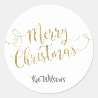 Merry Christmas Sticker - White & Gold