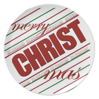 merry CHRISTmas striped Immanuel decor plate