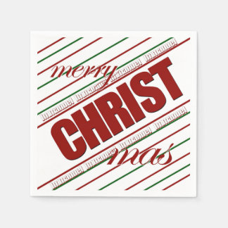 merry CHRISTmas striped Immanuel paper napkins