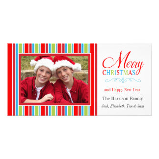 Merry Christmas Striped Photo Card