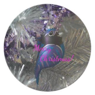 Merry Christmas Stunning Blue Bird Decoration Plate